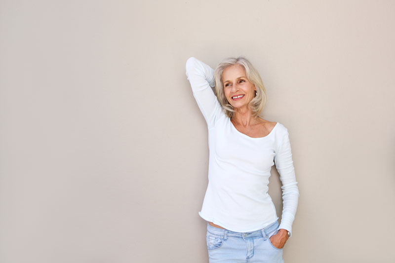 Woman with relief from back and neck pain